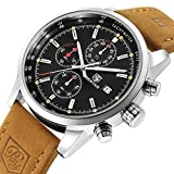 Best Chronograph Watches - Chronograph Brown Leather Quartz Watches Men Waterproof Stainless Review
