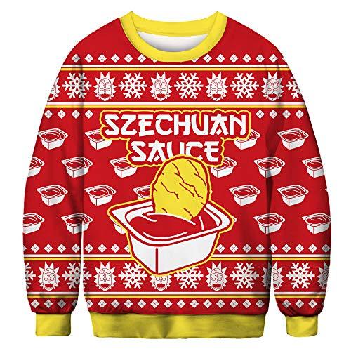 URVIP Unisex Weihnachtspullover Strickpullover 3D Druck Herren Damen Pullover Halloween Weihnachten Hoodies Jumper Ugly Sweater Ketchup BFT-031 XL