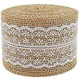 Bänderrolle mit natürlichem Sackleinen und weißer Spitze, Blumenmotiv, 5cm x 400cm, für...