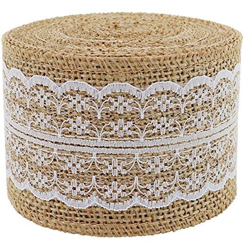 1Stück natur Jute Craft Ribbon Rolle mit Weiß Spitze 5cm x 400cm für DIY Handarbeit Home Decor Hochzeit Dekorationen Lace Leinen Floral Geschenkpapier Arrangements (Floral Jute)