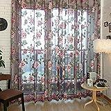 Window Curtain Flower Print Sheer Pattern Voile Valances Wine 100x250cm