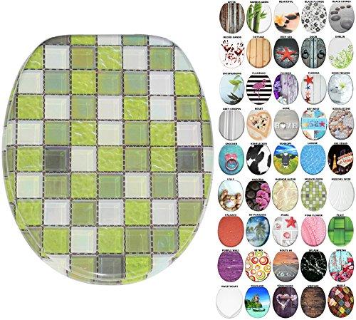WC Sitz mit Absenkautomatik, große Auswahl, schöne Motive, hochwertige und stabile Qualität aus Holz (Mosaik Grün) -