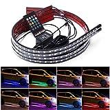Ambother 4 Stück Beleuchtung innen/außen Neon-LED-Band Auto RGB-Lichtband, 12 V