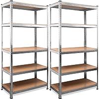 Deuba Scaffale alta portata 2 pz metallo 5 ripiani 170x75x30 350kg scaffali officina magazzino garage