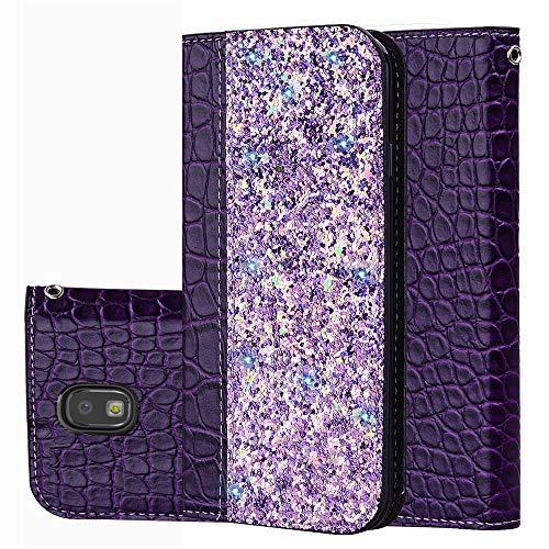 Samsung Galaxy J3 (2017) J330 (European Version) Hülle, Handyhülle PU Ledertasche Brieftasche Wallet Leder Bookstyle Flip Slot Kartenhalter Stoßfest Hülle mit Magnetverschluss Flip Case Purple