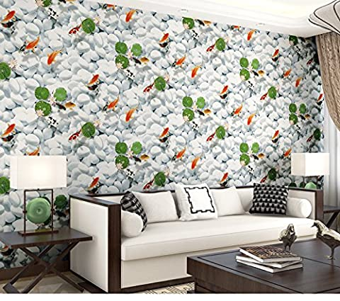 3D Nonwovens wallpaper cobblestone Upscale Goldfish pattern wall bedroom restaurant Entrance Background wall High-end simulation , 123008