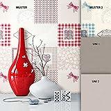 NEWROOM Tapete Beige Schleifen Punkte Küche Vliestapete Grau Vlies moderne Design Optik Tapete Landhaus inkl. Tapezier Ratgeber