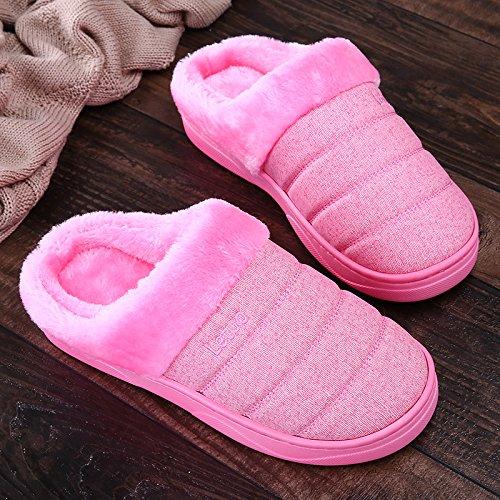 Y-Hui inverno pantofole di cotone impermeabile, giovane, fondo spesso, Indoor Borsa vivente e antiscivolo fondo morbido pantofole, Uomo Inverno Rose red