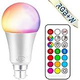 iLC Ampoule Led Couleur Changement de couleur Ampoule 10W Baïonnette B22 RGBW Dimmable LED Ampoules - 12 choix de couleur - Télécommande Compris