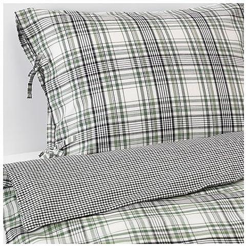 IKEA SNARJMARA - funda nórdica y 4 fundas de almohada, comprobar, verde - 240x220 / 50x80 cm