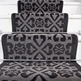 Lima Moroccan Grey Black Design Stair Carpet in 2' - 3' Widths and 1' - 64' Lengths - The Rug House - amazon.co.uk