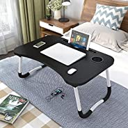 laptop deskFolding Bed Table Laptop Desk with iPad and Cup Holder Adjustable Lap Tray Notebook Stand foldable