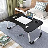 laptop deskFolding Bed Table Laptop Desk with iPad and Cup Holder Adjustable Lap Tray Notebook Stand foldable watch moveiies