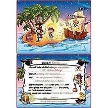 Kindergeburtstag Einladungskarten Pirat Einladungen Geburtstagseinladungen  Kinder   10 Stück Schatzsuche Schatzkarte