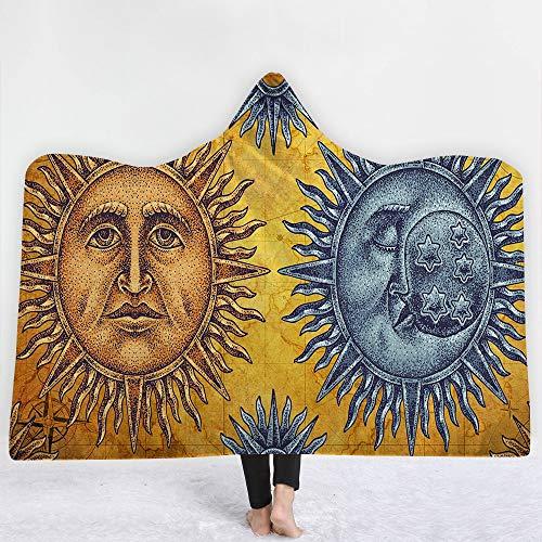 FGVBWE4R 24 Arten Mandala Religion 3D Gedruckt Plüsch Mit Kapuze Decke für Betten Warme Tragbare Weiche Fleece Decken-5,130X150CM