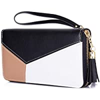 PALAY® Women's Long Wallet Tassel PU Leather Multi- Slots Girls Zipper Coin Large Purse Wallet for Women (Black)