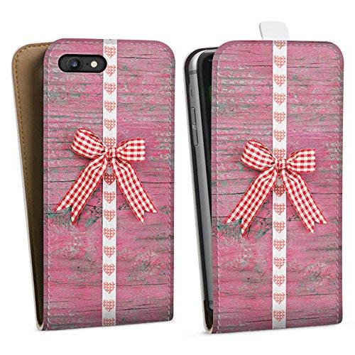 Apple iPhone X Silikon Hülle Case Schutzhülle Schleife Herz Holz Oktoberfest Downflip Tasche weiß