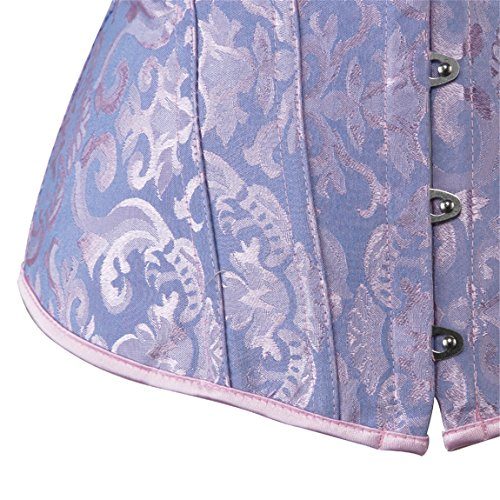 Womens Vintage Waist Cincher Overbust Boned Corset Bustier Top With Brocade Blue