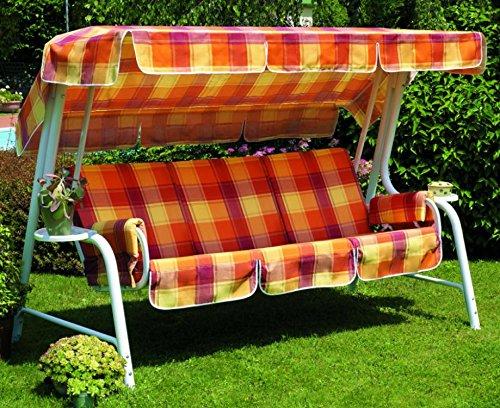 Ideapiu Balancelle de Jardin, Bascule avec imbottiturae rivestiento écossais, balancelle 4 Places, Bascule