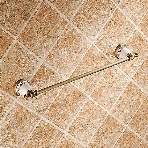 SSBY Antigua porcelana azul y blanca, estante de toalla de baño, toallero de barra de cobre, accesorios de