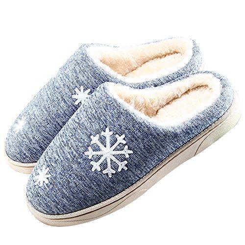 JACKSHIBO Damen Herren Plüsch Baumwolle Pantoffeln Weiche Leicht Wärme Hausschuhe Rutschfeste Slippers Für Unisex blau EU 42/43