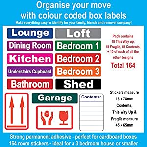 164 Room Labels For Moving Home - Colour Coded Box Labels/Stickers ...