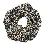 MANUMAR Loop-Schal für Damen | feines Hals-Tuch in schwarz mit Blumen Motiv als perfektes Herbst Winter Accessoire | Schlauch-Schal | Damen-Schal | Rund-Schal | Das ideale Geschenk für Frauen