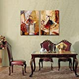 Wieco Art - Ballet Dancers 2 Piece Modern Decorative artwork 100% Hand Painted Contemporary Abstract Oil paintings on Canvas Wall Art Ready to Hang for Home Decoration Wall Decor - Wieco Art - amazon.co.uk