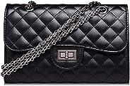 Casual Women HandBag Black Leather Crossbody Bag Chain Shoulder Strap Hasp Dress Criss-cross Bag