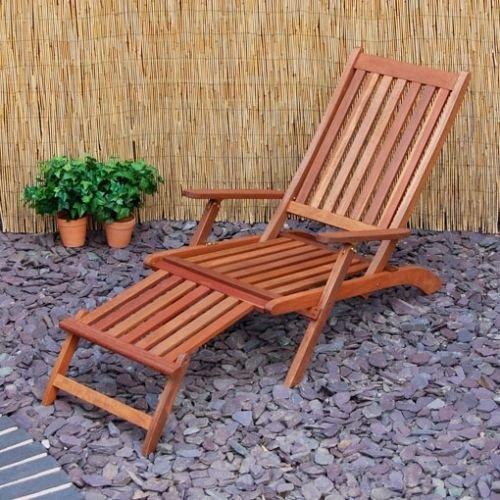 Generic per giardini e terrazze a vapore sedia a sdraio pieghevole in legno massiccio<1&2057*1>
