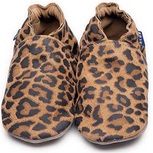Preisvergleich Produktbild Inch Blue Mädchen/Jungen Schuhe für den Kinderwagen aus luxuriösem Leder - Weiche Sohle - Leopardenfell