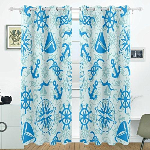 COOSUN Nautische Marine Muster Blackout Vorhänge Verdunkelung Thermische Isoliert Polyester Tülle Vorhang Vorhang für Schlafzimmer, Wohnzimmer, 2 Panel (55 x 84 l Zoll)