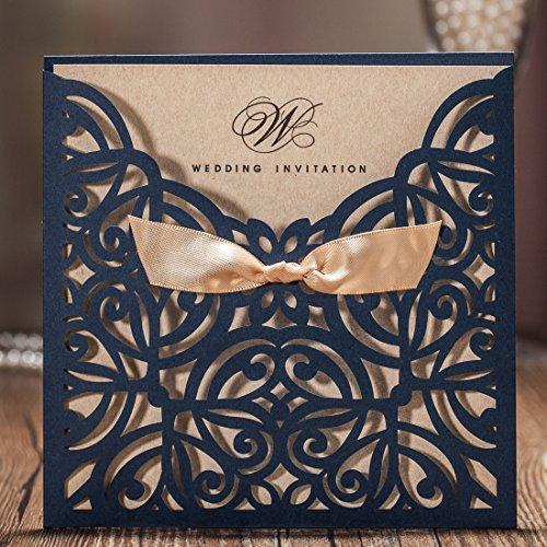 AOWEIRILUV 10 Stück Leere Blaue weiße quadratische Hochzeitseinladungskarte mit Schleife Bowknot Geburtstagsfeier lädt Karte