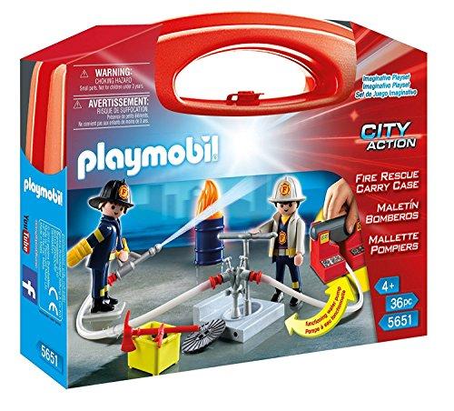 Playmobil 5651.0 Großer Spielekoffer mit funktionierender Wasserpumpe und 2 x Feuerwehrleuten
