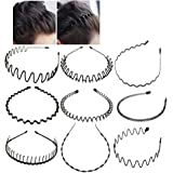 Xinlie® Cerchietto per Capelli in Metallo Fascia Metal Hair Hoop Black Spring Wave Hairband Metal Hair Band Hairband Wave Hai