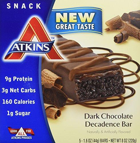 Atkins, Avantage, Barre de chocolate noir décadence, 5 barres, 1,6 oz (44 g) de chaque