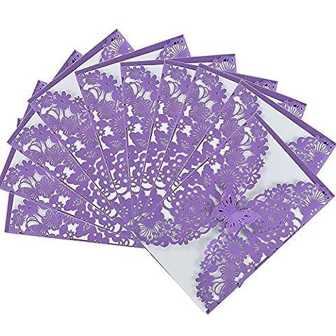 Lugii Cube 10pcs Découpe Laser Papillon Floral creux Lot de cartes d'invitation de mariage pour mariage fiançailles Mariage Douche, Violet, violet