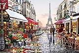YEESAM ART Neuerscheinungen Malen nach Zahlen für Erwachsene Kinder - Paris Eiffelturm Blumen Straße 16 * 20 Zoll Leinen Segeltuch - DIY ölgemälde ölfarben Weihnachten Geschenke