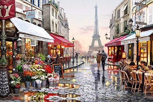 YEESAM ART Neuerscheinungen Malen nach Zahlen für Erwachsene Kinder - Eiffelturm Straßenansicht 16 * 20 Zoll Leinen Segeltuch - DIY ölgemälde ölfarben Weihnachten Geschenke