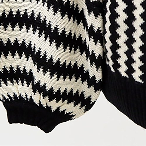 WanYang Tricotage Pull Chandails Femme Oversized Manches Longues Col Roulé Pull-over Rayure Tricot Sweater Tops Maille Jumper Noir