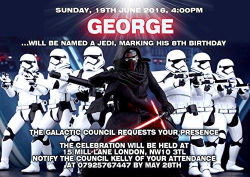 onalisierte Kinder Geburtstag Party Einladungen oder Dankeskarten Karten (Star Wars-foto-einladungen)