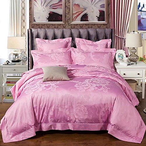 shinemoon Heimtextilien, All Season Luxus Floral Blumen Muster Bettbezug Set umfasst Bettlaken und Kissenbezüge, Satin Jacquard 100% Baumwolle Bettset 4-Sets für Schlafzimmer, rose, Kingsize