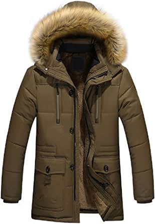 Inlefen Hooded Coat Men Autumn and Winter Medium and Long Section Outdoor Thicken Cotton Clothing