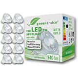 10x greenandco® LED-spot vervangt 25 Watt MR16 GU5.3 halogeenspot, 3W 240 lumen 2700K warm wit 38° 12V AC/DC, niet dimbaar