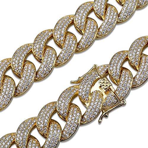 18mm Miami Cuban link Armband Gold Silber Farbe Überzogen Iced Out Micro Pave Zirkon Männer Rapper Große Armband Für Frauen,Gold,7inch (Frauen Cuban Link-armband Für)