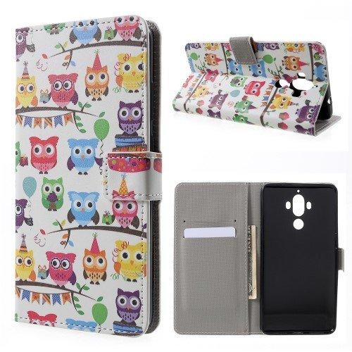 jbTec® Flip Case Handy-Hülle zu Huawei Mate 9 / Mate 9 Dual-SIM - Book Motiv #03 - Handy-Tasche Schutz-Hülle Cover Handyhülle Ständer Bookstyle Booklet, Motiv/Muster:Eulen Party E04