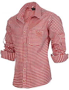 PAULGOS Trachtenhemd Kariert in 6 Farben Gr. S-5XL mit Krempelärmeln