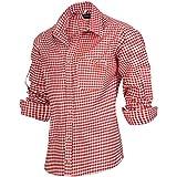 PAULGOS Trachtenhemd Kariert in 6 Farben Gr. S-5XL mit Krempelärmeln, Farbe:Rot, Größe:4XL