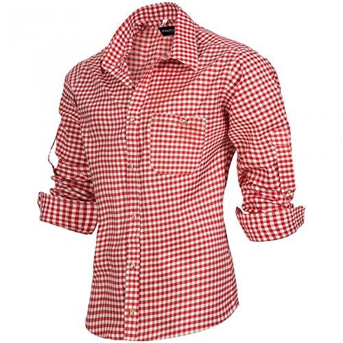PAULGOS Trachtenhemd kariert in 6 Farben Gr. S-5XL mit Krempelärmeln, Farbe:Rot, Größe:XL