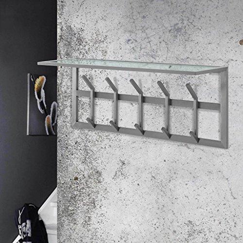 MSZ Design Garderobe Wandgarderobe IMMO 5 Edelstahl mit Ablage aus Glas